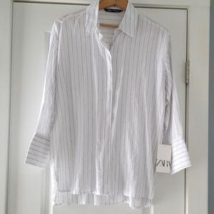 NWT ZARA linen button down shirt!